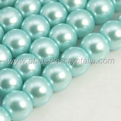 15 PERLAS DE CRISTAL COLOR CIAN CLARO 10mm