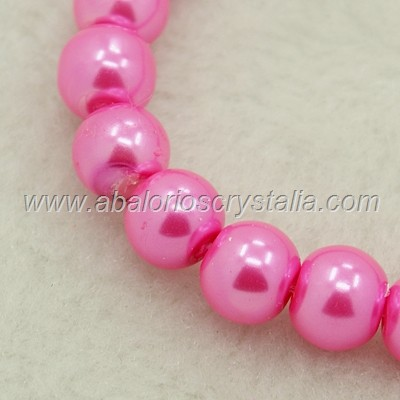 20 PERLAS DE CRISTAL COLOR ROSA 8mm