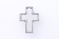 10 CONECTORES CRUZ HUECA PLATA ANTIGUA 15x12mm
