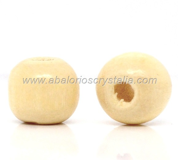 20 BOLAS DE MADERA COLOR BEIGE/NATURAL 10x9mm