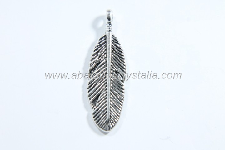 5 PLUMAS PLATA ANTIGUA 30X9mm