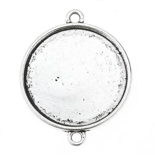 1 CONECTOR CAMAFEO PLATA ANTIGUA (base 25mm) 35x27mm