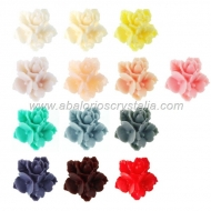 LOTE CABUCHONES FLOR RESINA BASE PLANA 16x16x8mm 13 COLORES