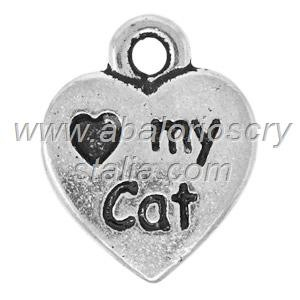 10 COLGANTES CORAZÓN I love my cat PLATA ANTIGUA 12x9mm