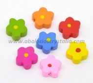 5 FLORES DE MADERA MIX DE COLORES 15x15mm ref: 284