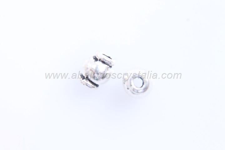 20 BARRILES ESPACIADORES PLATA ANTIGUA 6x5mm