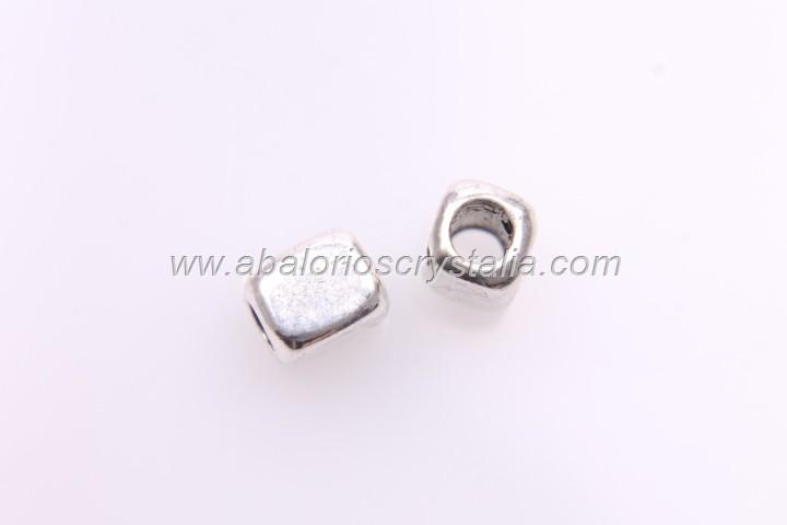 10 CUBOS ESPACIADORES PLATA ANTIGUA 6.4x5mm