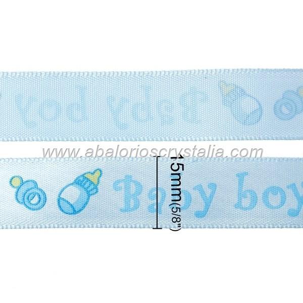 1 METRO DE CINTA DE RASO AZUL ESTAMPADO BABY-BOY 15mm