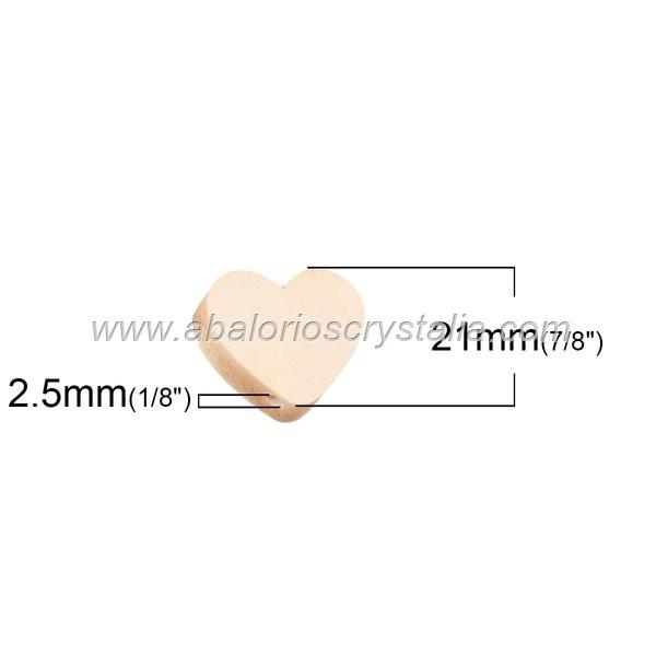 5 CORAZONES DE MADERA NATURAL 21x18mm