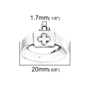 5 COFIAS DE ENFERMERA PLATA ANTIGUA 20x16mm