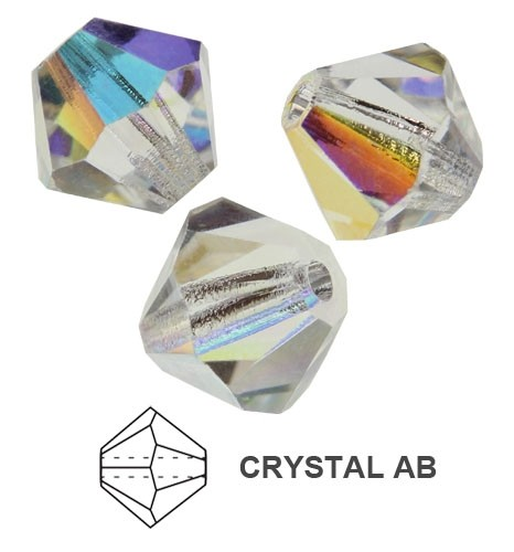 20 TUPIS CRISTAL TIPO AUSTRIACO COLOR CRYSTAL AB 6MM