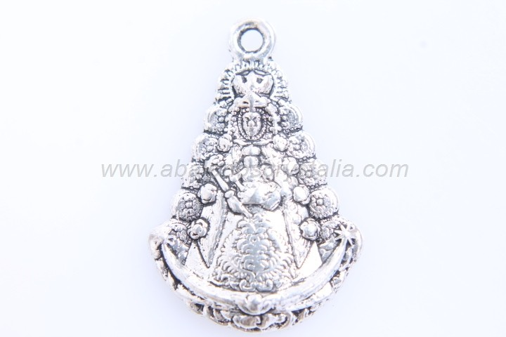 5 MEDALLAS VIRGEN DEL ROCIO PLATA ANTIGUA 25x17mm