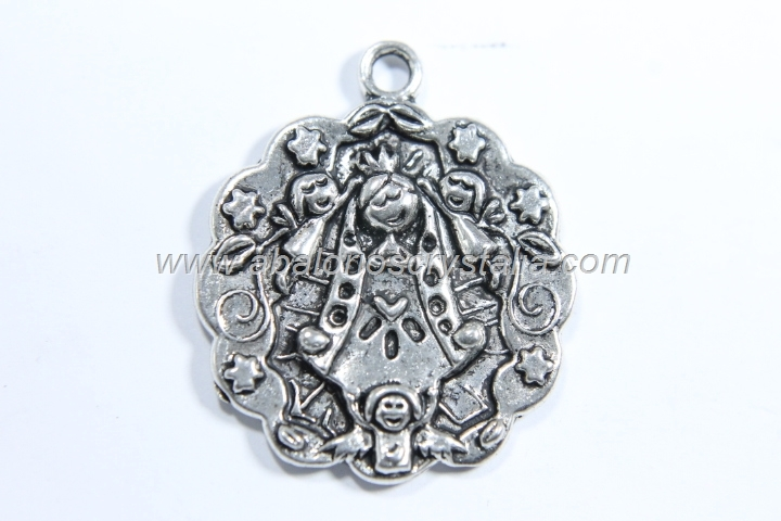 COLGANTE Virgencita te imploro PLATA ANTIGUA 30x25 mm