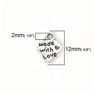 10 CORAZONES PLATA ANTIGUA Made with love 12.5x10mm