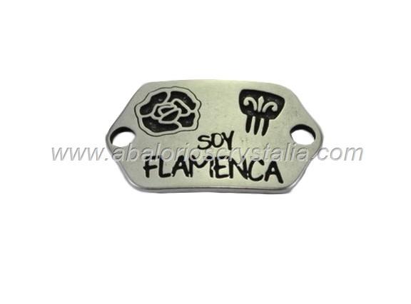 CONECTOR CHAPA ZAMAK BAÑO PLATA Soy Flamenca 40x24mm Flor y Peineta