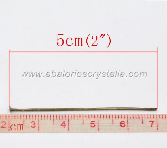 50 BASTONES CABEZA DE ALFILER (50mm) PLATEADO