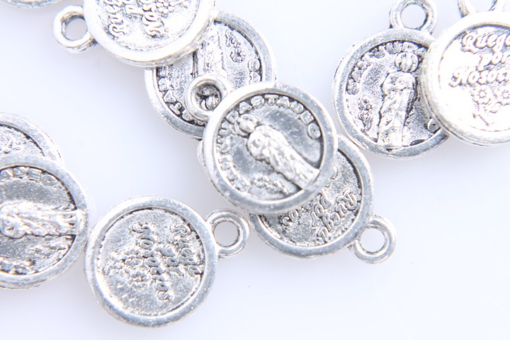 10 MEDALLITAS San Judas Tadeo... PLATA ANTIGUA 12x10mm