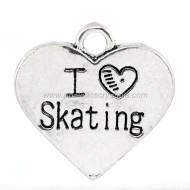 COLGANTE CHAPITA I love skating PLATA ANTIGUA 17.7x18mm