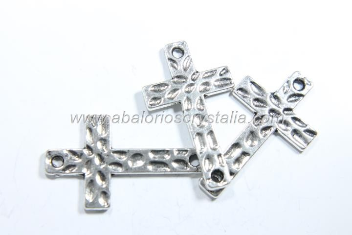 5 CONECTORES CRUZ PLATA ANTIGUA 30x18x1.5mm
