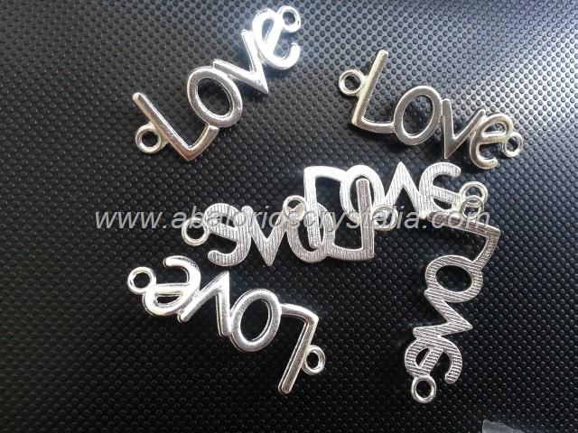 5 CONECTORES LOVE PLATA ANTIGUA 36x13mm