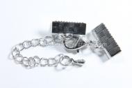 1 CIERRE 30mm: SET PLATA ANTIGUA DE MOSQUETON, CADENA Y TERMINALES PARA CINTA  (terminales: 13mm)