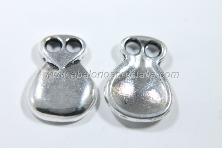 10 CASTAÑUELAS PLATA ANTIGUA 16.5x12.5mm (5 PARES)