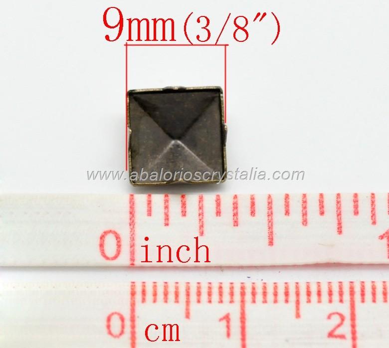 20 TACHUELAS FORMA PIRÁMIDE BRONCE ANTIGUO 9mm