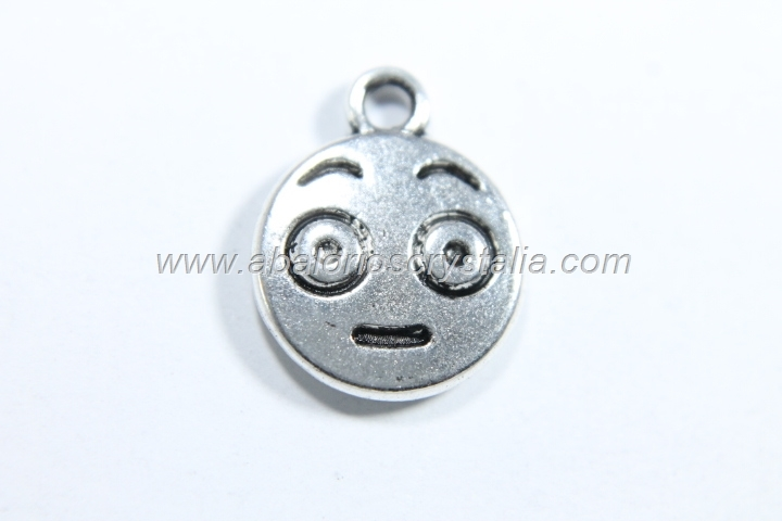 10 COLGANTES EMOTICONO PLATA ANTIGUA 15x12mm. (mod 7)