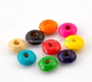 50 DONUTS DE MADERA 8x4 mm MIX DE COLORES