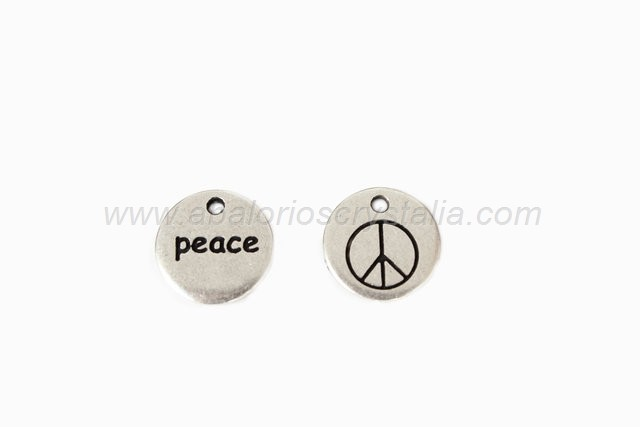 COLGANTE REDONDO Peace ZAMAK BAÑO PLATA 14mm