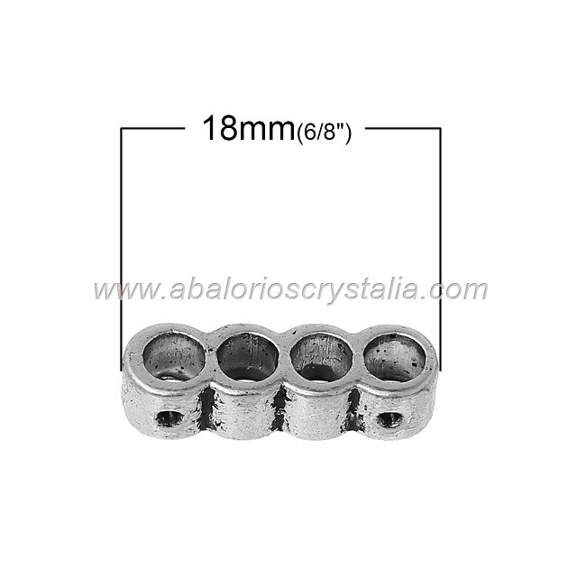 10 BARRAS ESPACIADORAS 4 VIAS PLATA ANTIGUA 18x5mm