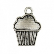 10 CUP CAKES PLATA ANTIGUA 18x13mm