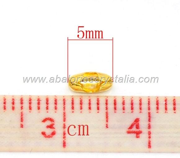 50 TERMINALES DORADOS 5x2.5mm PARA CADENA DE BOLITAS (Apto 1mm-1.5mm)
