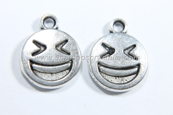10 COLGANTES EMOTICONO PLATA ANTIGUA 15x12mm. (mod 4)