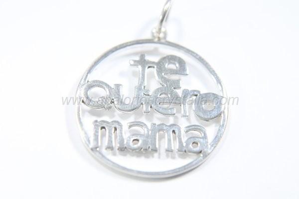 Colgante Te quiero mamá calado + anilla plata 925