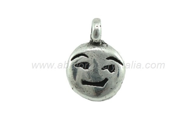 EMOTICONO LISTILLO ZAMAK BAÑO PLATA 16x11mm