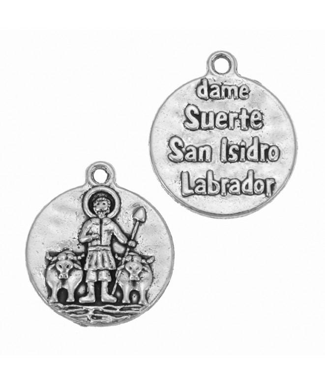 5 MEDALLAS Dame suerte San Isidro Labrador PLATA ANTIGUA 28x20mm