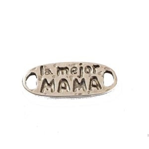 CHAPA ZAMAK BAÑO PLATA La mejor mama 31x13mm