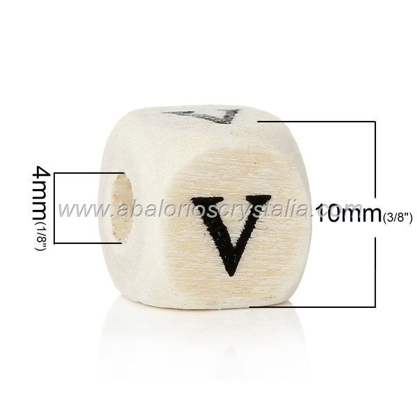 10 CUBOS DE MADERA abc LETRA V COLOR NATURAL BLANCO