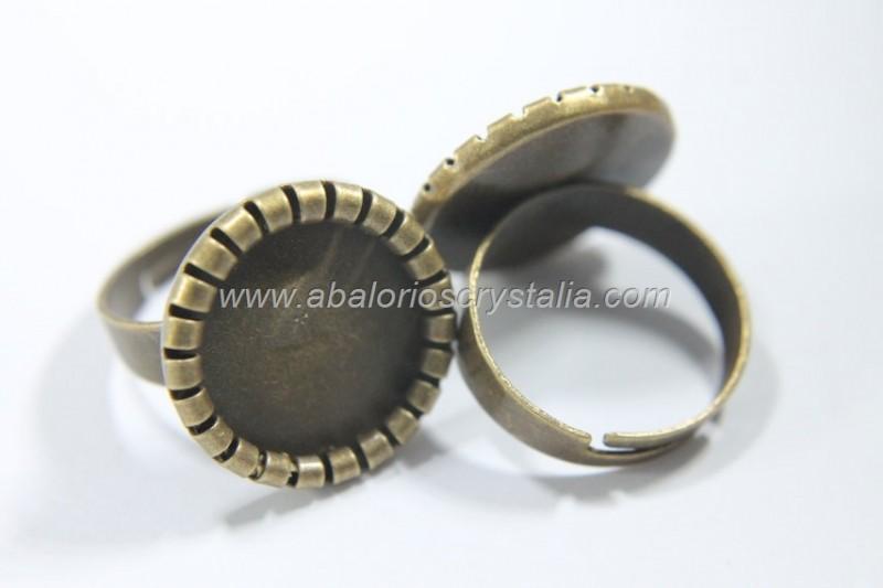 5 BASES DE ANILLO AJUSTABLES BRONCE (Base para camafeo redonda 17mm)