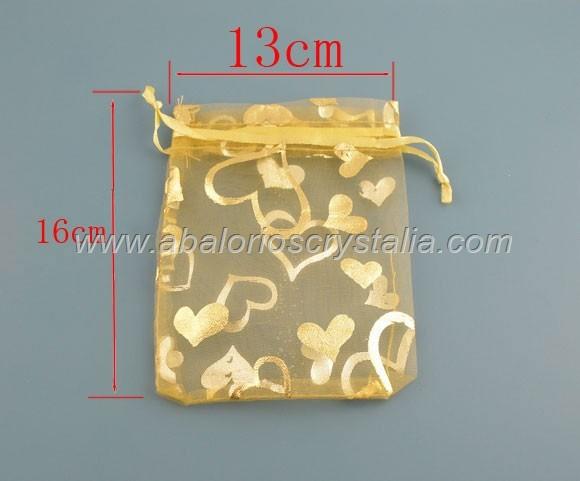 10 BOLSAS DE ORGANZA MIX DE COLORES 16x12.5cm