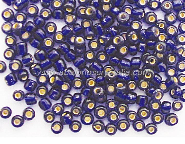 20 GR ROCALLA 6/0 (3.6 - 4mm) AZUL OSCURO EFECTO PLATA