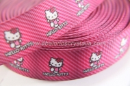 1 METRO DE CINTA GROSGRAIN ESTAMPADO HELLO KITTY CINTA FUCSIA RAYAS 22mm
