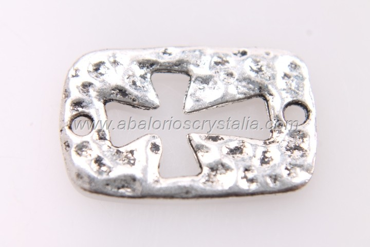5 CONECTORES CRUZ HUECA PLATA ANTIGUA 23x15mm