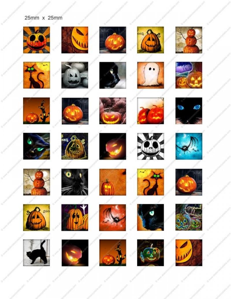 LÁMINA CON 35 IMÁGENES 25x25mm Halloween 2