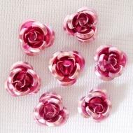 25 ROSAS ABALORIO ALUMINIO ROSA 10 mm