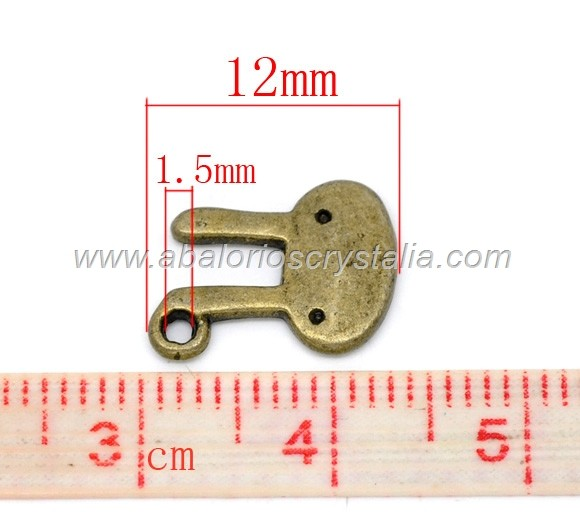 5 COLGANTES BUNNY BRONCE 12x10mm