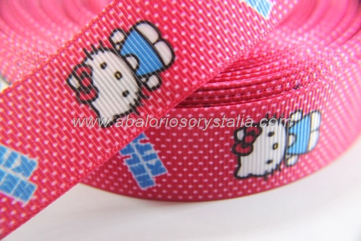 1 METRO DE CINTA GROSGRAIN ESTAMPADO HELLO KITTY CINTA PUNTOS 22mm