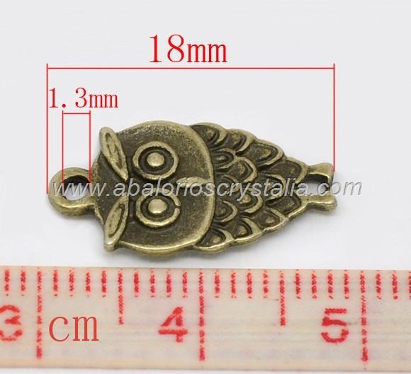 1 COLGANTE/CONECTOR BUHO COLOR BRONCE 18.5x9x2mm