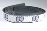 Tira plana cuero sintético blanco estampado 15x2mm (1 metro)